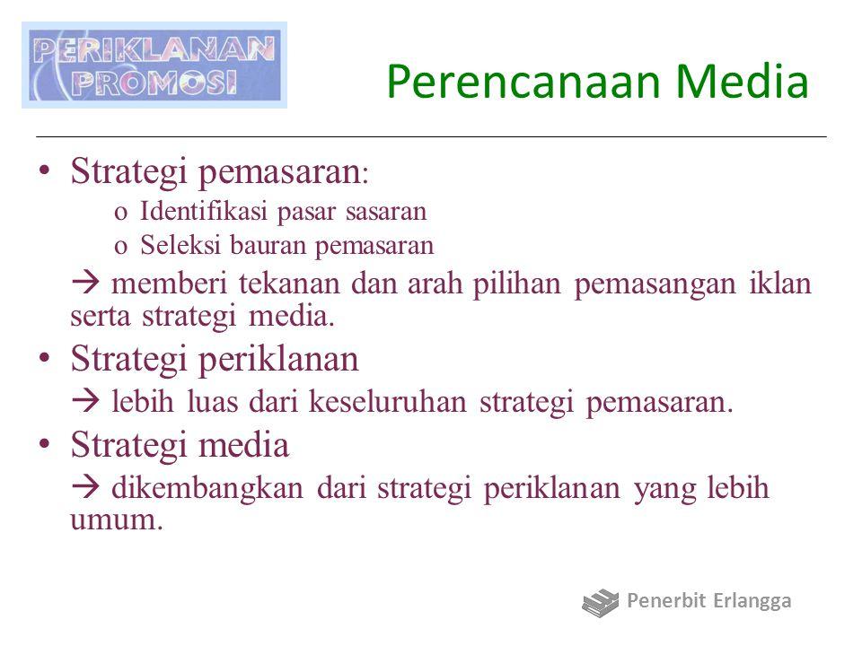 Perencanaan Media Strategi pemasaran : oIdentifikasi pasar sasaran oSeleksi bauran pemasaran  memberi tekanan dan arah pilihan pemasangan iklan serta strategi media.