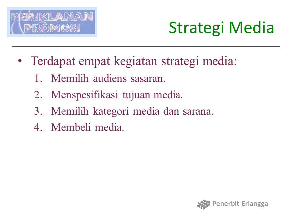 Strategi Media: (1) Memilih Audiens Sasaran Faktor utama dalam mensegmentasi audiens sasaran: 1)Geografis 2)Demografis 3)Pemakaian produk 4)Gaya hidup/psikografis Audiens sasaran didefinisikan dalam batas spesifik yang mempunyai implikasi jelas untuk pesan dan strategi media.