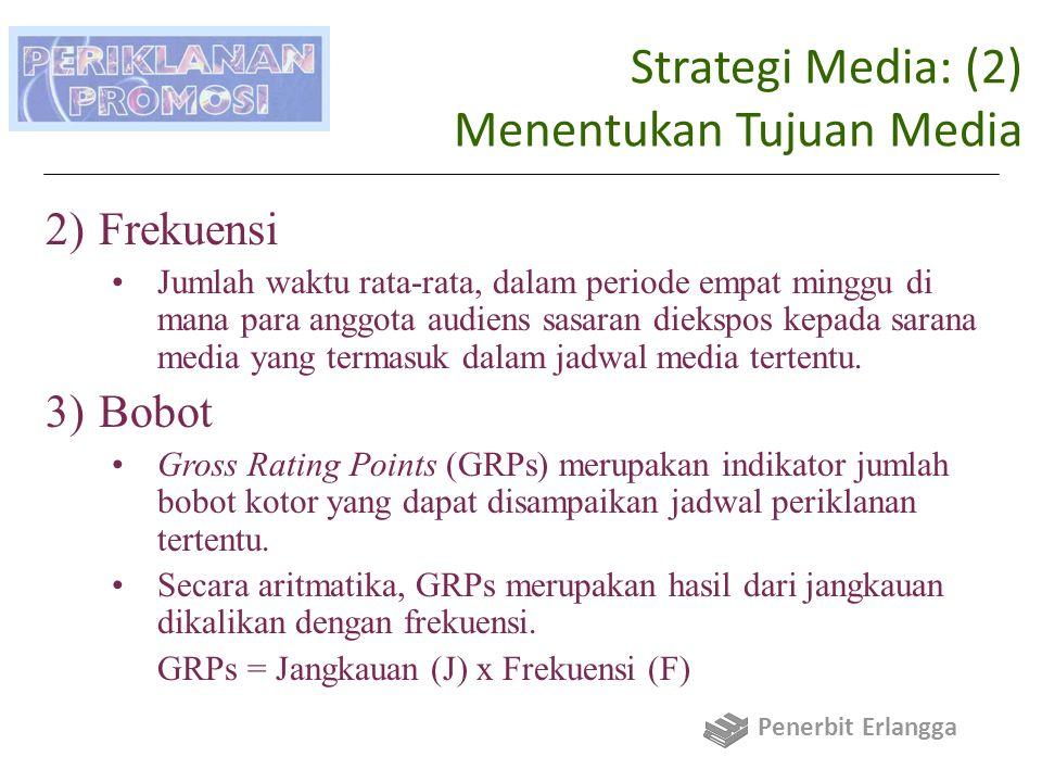 Strategi Media: (2) Menentukan Tujuan Media 2)Frekuensi Jumlah waktu rata-rata, dalam periode empat minggu di mana para anggota audiens sasaran diekspos kepada sarana media yang termasuk dalam jadwal media tertentu.