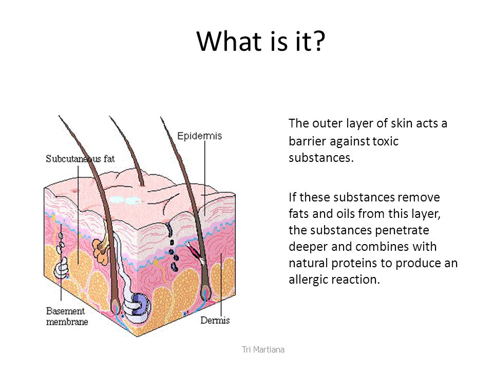 What is it.The outer layer of skin acts a barrier against toxic substances.