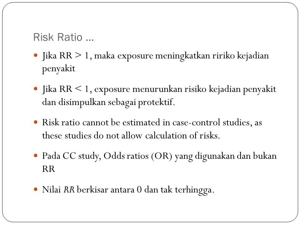 Risk Ratio... Jika RR > 1, maka exposure meningkatkan ririko kejadian penyakit Jika RR < 1, exposure menurunkan risiko kejadian penyakit dan disimpulk