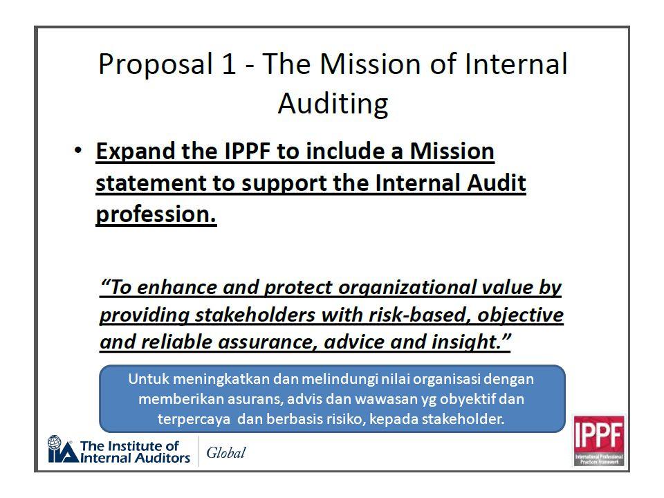 Untuk meningkatkan dan melindungi nilai organisasi dengan memberikan asurans, advis dan wawasan yg obyektif dan terpercaya dan berbasis risiko, kepada