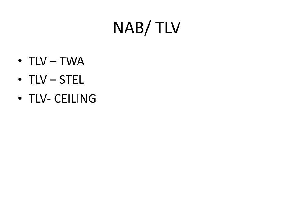 NAB/ TLV TLV – TWA TLV – STEL TLV- CEILING