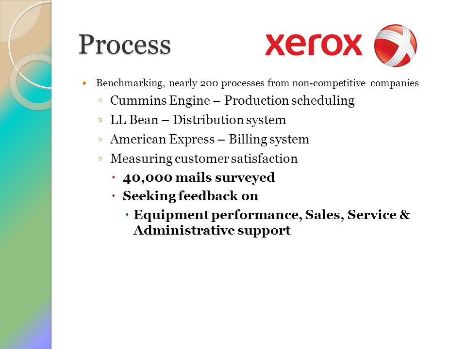 Process Benchmarking, nearly 200 processes from non-competitive companies ◦ Cummins Engine – Production scheduling ◦ LL Bean – Distribution system ◦ A