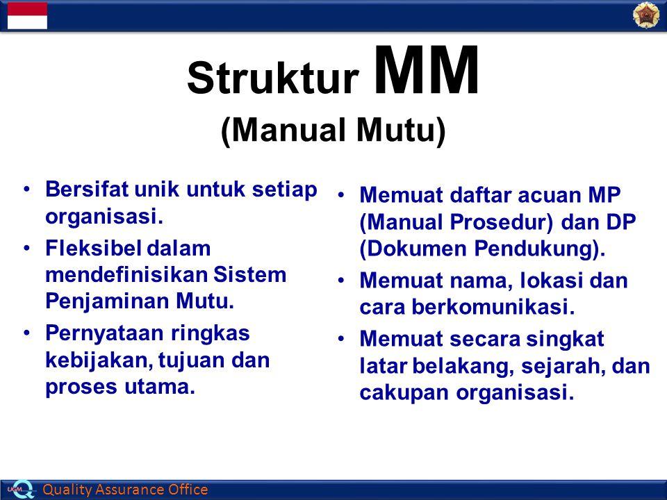 Quality Assurance Office Struktur MM (Manual Mutu) Bersifat unik untuk setiap organisasi. Fleksibel dalam mendefinisikan Sistem Penjaminan Mutu. Perny