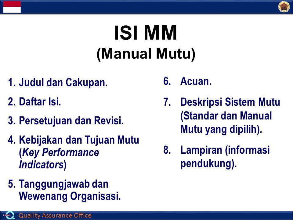 Quality Assurance Office 1.Judul dan Cakupan. 2.Daftar Isi. 3.Persetujuan dan Revisi. 4.Kebijakan dan Tujuan Mutu ( Key Performance Indicators ) 5.Tan