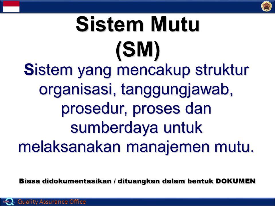 Quality Assurance Office Sistem Mutu (SM) Sistem yang mencakup struktur organisasi, tanggungjawab, prosedur, proses dan sumberdaya untuk melaksanakan