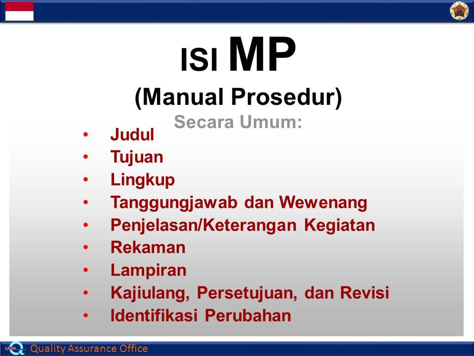 Quality Assurance Office ISI MP (Manual Prosedur) Secara Umum: Judul Tujuan Lingkup Tanggungjawab dan Wewenang Penjelasan/Keterangan Kegiatan Rekaman