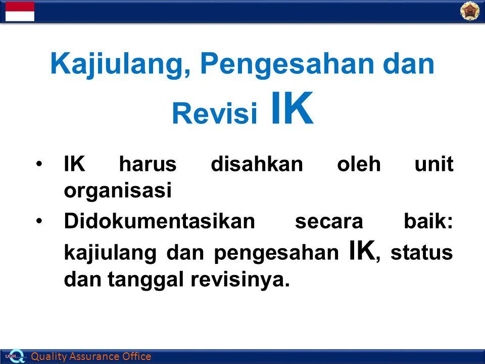 Quality Assurance Office Kajiulang, Pengesahan dan Revisi IK IK harus disahkan oleh unit organisasi Didokumentasikan secara baik: kajiulang dan penges