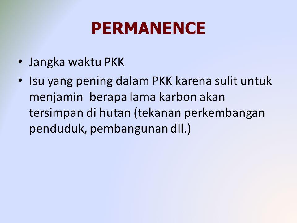 PERMANENCE Jangka waktu PKK Isu yang pening dalam PKK karena sulit untuk menjamin berapa lama karbon akan tersimpan di hutan (tekanan perkembangan penduduk, pembangunan dll.)