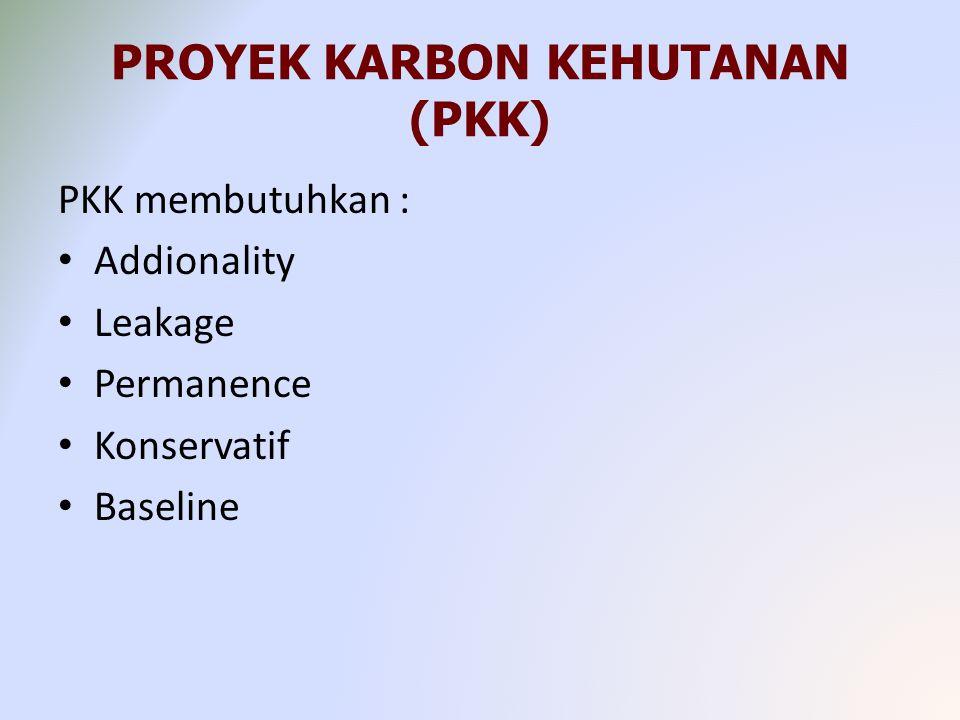 PROYEK KARBON KEHUTANAN (PKK) PKK membutuhkan : Addionality Leakage Permanence Konservatif Baseline