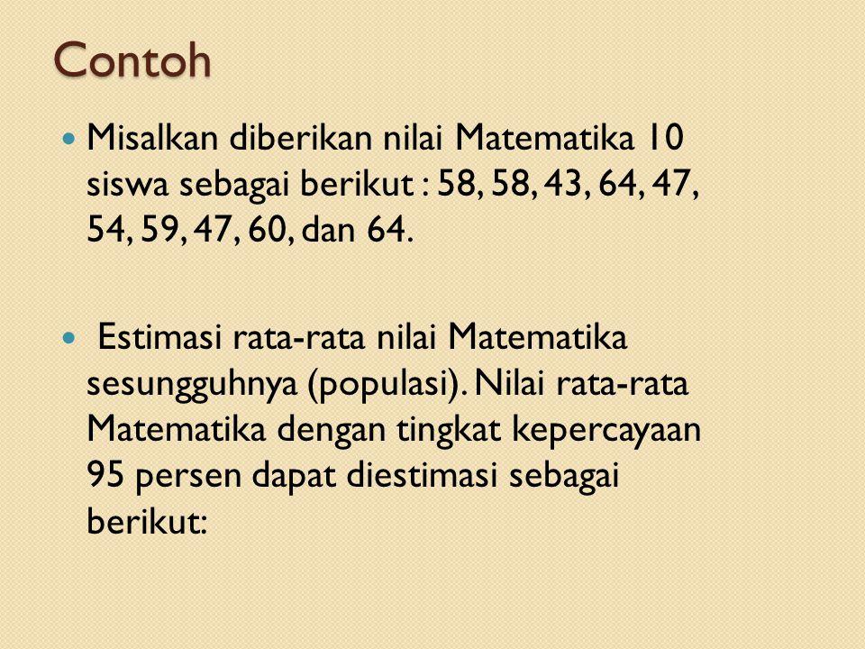 Contoh Misalkan diberikan nilai Matematika 10 siswa sebagai berikut : 58, 58, 43, 64, 47, 54, 59, 47, 60, dan 64. Estimasi rata-rata nilai Matematika