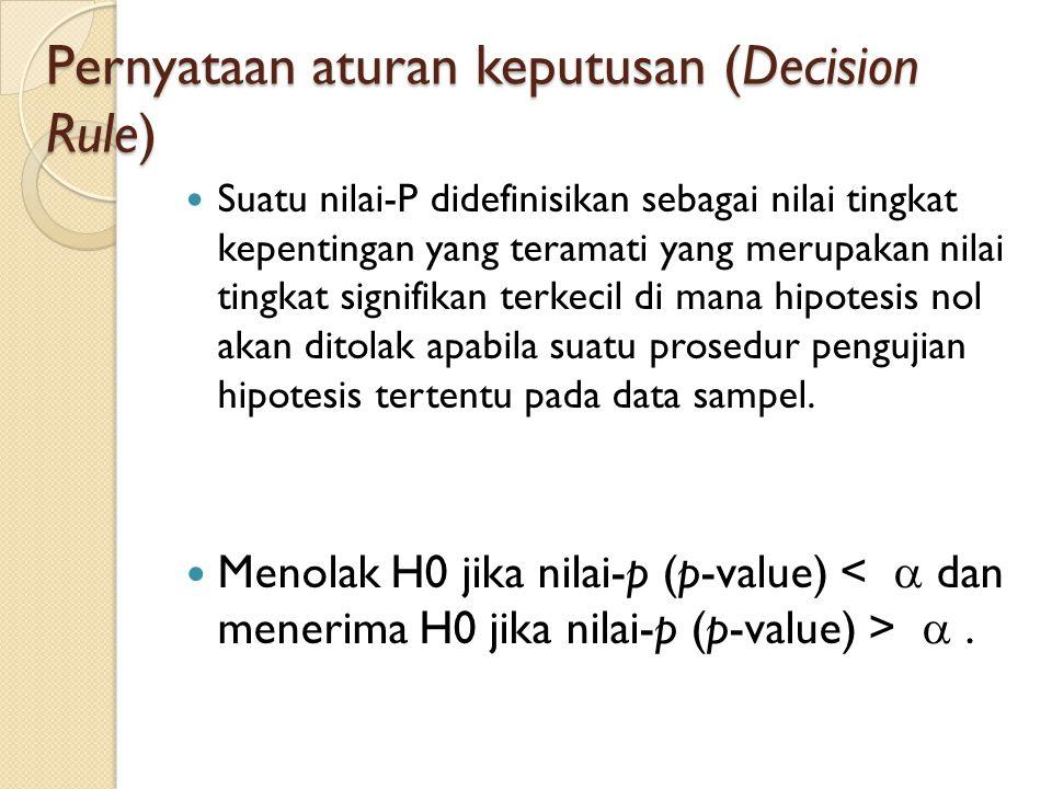 Pernyataan aturan keputusan (Decision Rule) Suatu nilai-P didefinisikan sebagai nilai tingkat kepentingan yang teramati yang merupakan nilai tingkat s