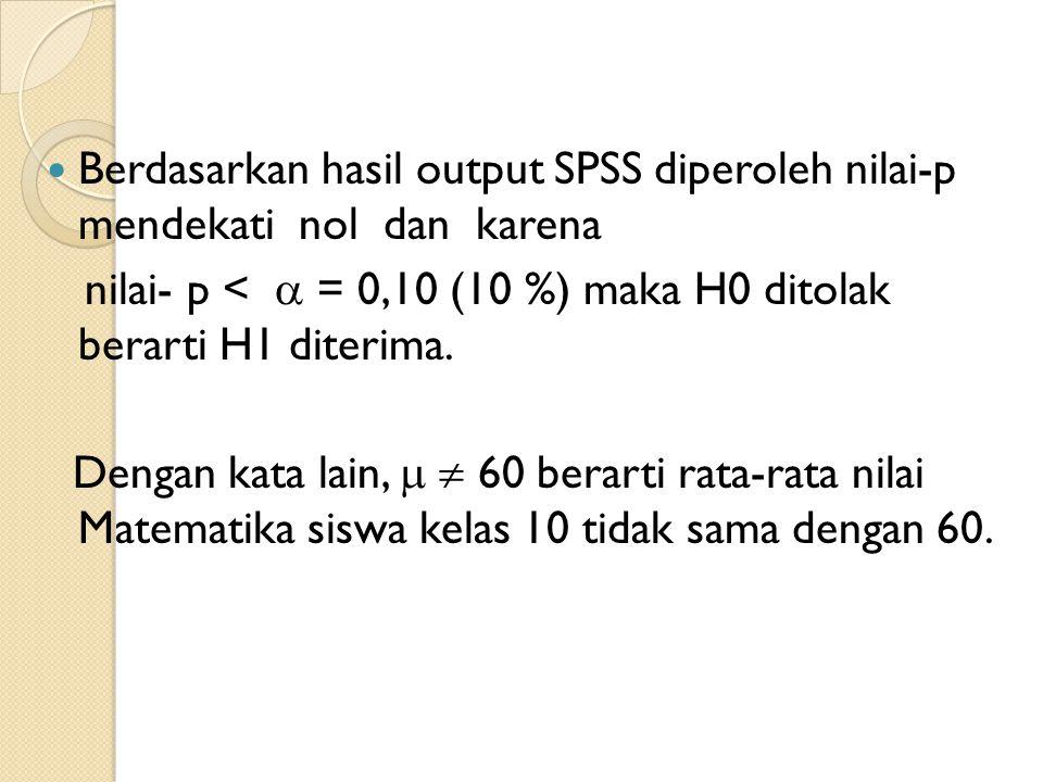 Berdasarkan hasil output SPSS diperoleh nilai-p mendekati nol dan karena nilai- p <  = 0,10 (10 %) maka H0 ditolak berarti H1 diterima. Dengan kata l