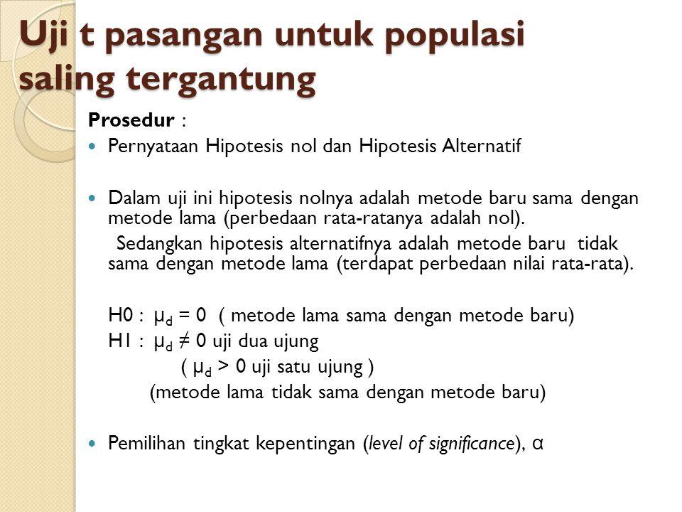 Uji t pasangan untuk populasi saling tergantung Prosedur : Pernyataan Hipotesis nol dan Hipotesis Alternatif Dalam uji ini hipotesis nolnya adalah met