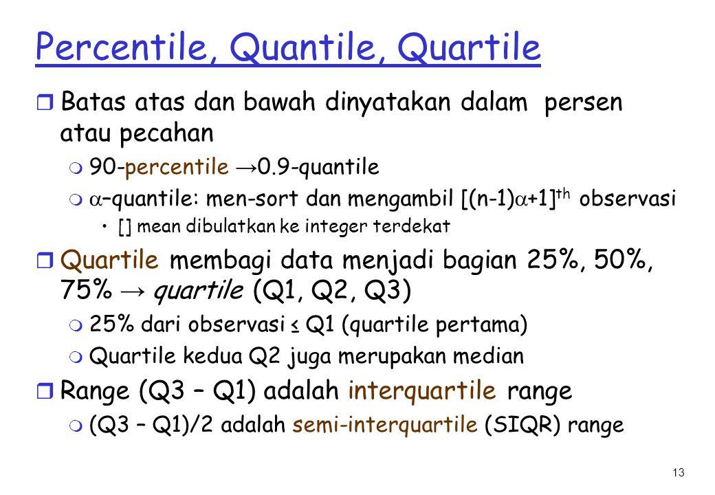 13 Percentile, Quantile, Quartile r Batas atas dan bawah dinyatakan dalam persen atau pecahan  90-percentile → 0.9-quantile m  –quantile: men-sort dan mengambil [(n-1)  +1] th observasi [] mean dibulatkan ke integer terdekat  Quartile membagi data menjadi bagian 25%, 50%, 75% → quartile (Q1, Q2, Q3) m 25% dari observasi ≤ Q1 (quartile pertama) m Quartile kedua Q2 juga merupakan median r Range (Q3 – Q1) adalah interquartile range m (Q3 – Q1)/2 adalah semi-interquartile (SIQR) range