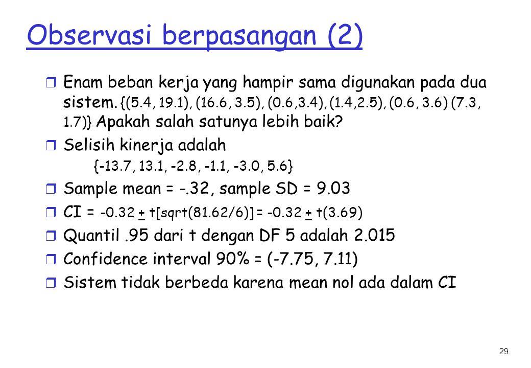 29 Observasi berpasangan (2) r Enam beban kerja yang hampir sama digunakan pada dua sistem.