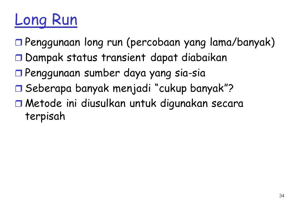 34 Long Run r Penggunaan long run (percobaan yang lama/banyak) r Dampak status transient dapat diabaikan r Penggunaan sumber daya yang sia-sia r Seberapa banyak menjadi cukup banyak .