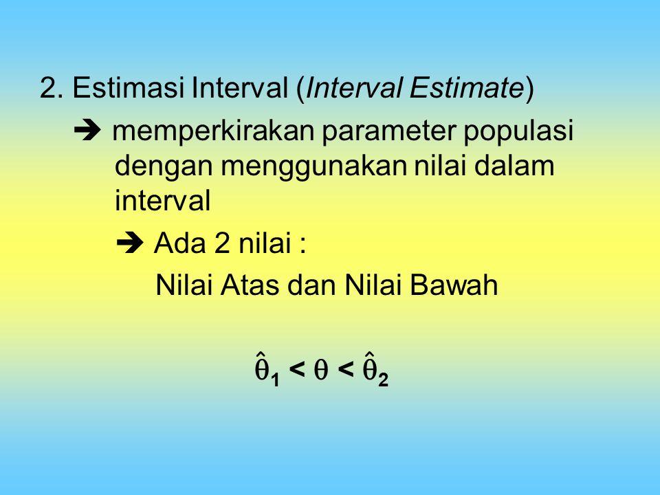 2. Estimasi Interval (Interval Estimate)  memperkirakan parameter populasi dengan menggunakan nilai dalam interval  Ada 2 nilai : Nilai Atas dan Nil