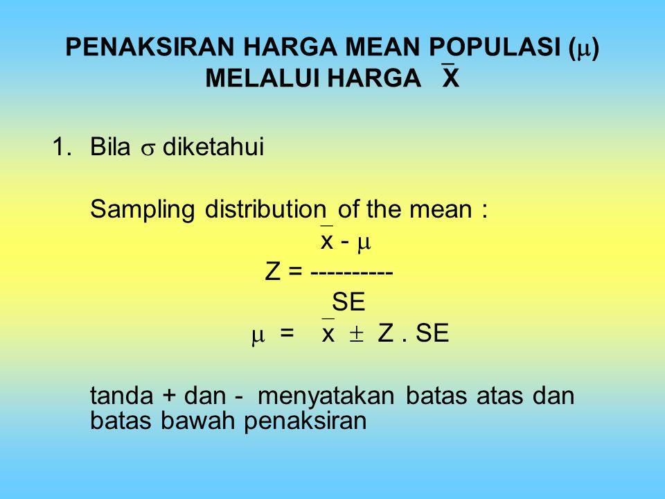 PENAKSIRAN HARGA MEAN POPULASI (  ) MELALUI HARGA  X 1.Bila  diketahui Sampling distribution of the mean :  x -  Z = ---------- SE  =  x  Z. S