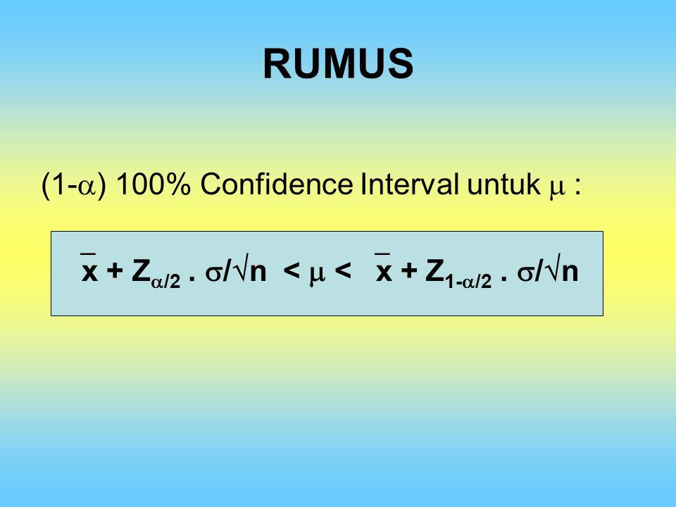 RUMUS (1-  ) 100% Confidence Interval untuk  :  x + Z  /2.  /  n <  <  x + Z 1-  /2.  /  n