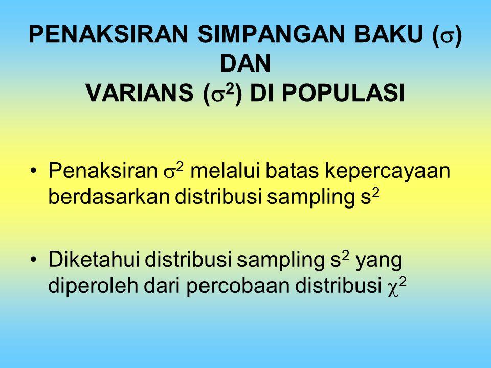 PENAKSIRAN SIMPANGAN BAKU (  ) DAN VARIANS (  2 ) DI POPULASI Penaksiran  2 melalui batas kepercayaan berdasarkan distribusi sampling s 2 Diketahui