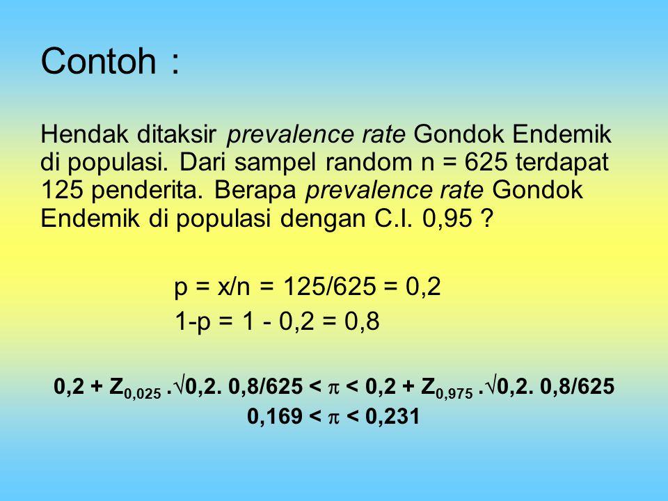 Contoh : Hendak ditaksir prevalence rate Gondok Endemik di populasi. Dari sampel random n = 625 terdapat 125 penderita. Berapa prevalence rate Gondok