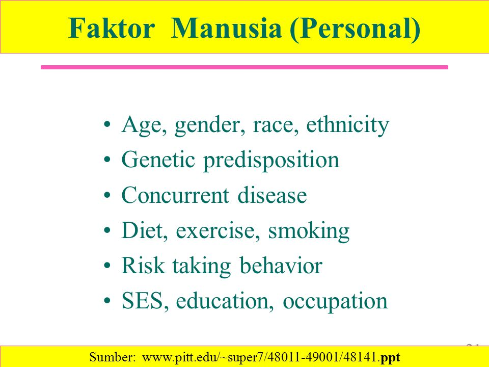 Faktor Manusia (Personal) Age, gender, race, ethnicity Genetic predisposition Concurrent disease Diet, exercise, smoking Risk taking behavior SES, education, occupation 21 Sumber: www.pitt.edu/~super7/48011-49001/48141.ppt‎
