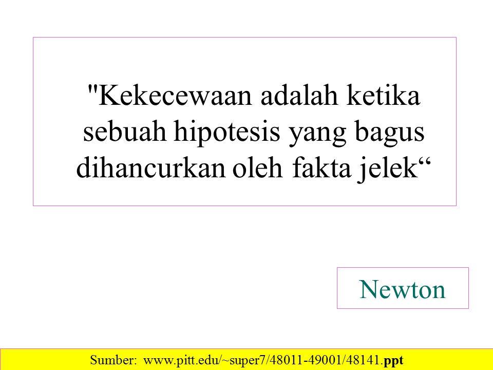 Newton Kekecewaan adalah ketika sebuah hipotesis yang bagus dihancurkan oleh fakta jelek Sumber: www.pitt.edu/~super7/48011-49001/48141.ppt