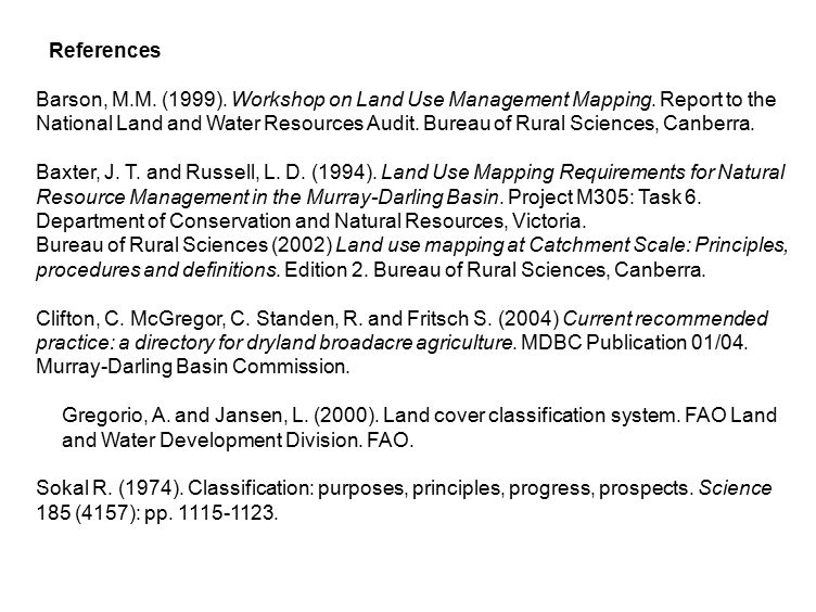 References Barson, M.M. (1999). Workshop on Land Use Management Mapping.