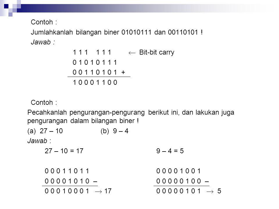 Contoh : Jumlahkanlah bilangan biner 01010111 dan 00110101 ! Jawab : 1 1 1 1 1 1  Bit-bit carry 0 1 0 1 0 1 1 1 0 0 1 1 0 1 0 1 + 1 0 0 0 1 1 0 0 Con