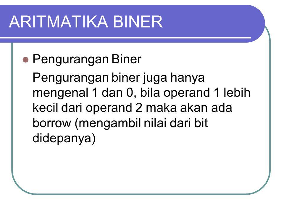 ARITMATIKA BINER Pengurangan Biner Pengurangan biner juga hanya mengenal 1 dan 0, bila operand 1 lebih kecil dari operand 2 maka akan ada borrow (mengambil nilai dari bit didepanya)