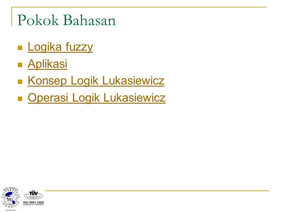 Pokok Bahasan Logika fuzzy Aplikasi Konsep Logik Lukasiewicz Operasi Logik Lukasiewicz