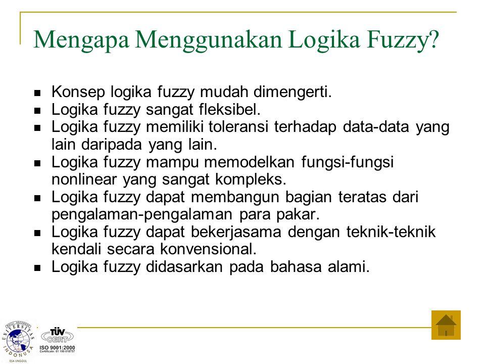 Mengapa Menggunakan Logika Fuzzy? Konsep logika fuzzy mudah dimengerti. Logika fuzzy sangat fleksibel. Logika fuzzy memiliki toleransi terhadap data-d