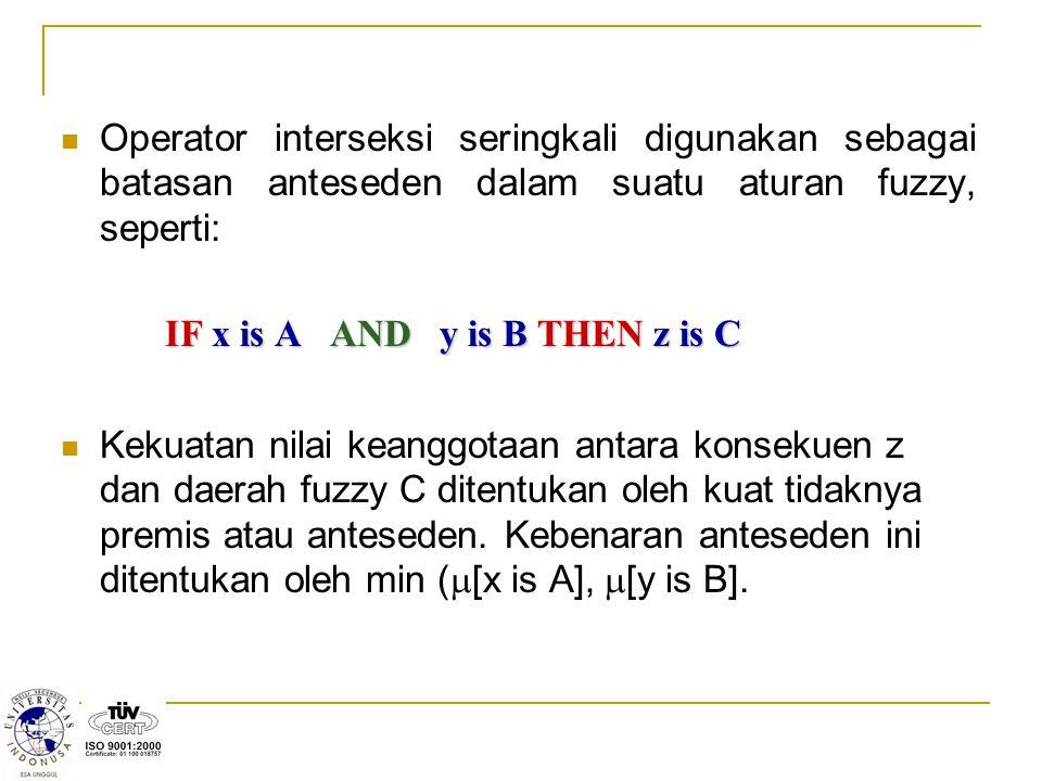 Operator interseksi seringkali digunakan sebagai batasan anteseden dalam suatu aturan fuzzy, seperti: IF x is A AND y is B THEN z is C Kekuatan nilai keanggotaan antara konsekuen z dan daerah fuzzy C ditentukan oleh kuat tidaknya premis atau anteseden.