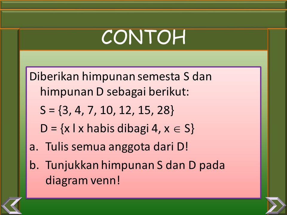 Komplemen dari himpunan A adalah semua anggota S (himpunan semesta) yang bukan anggota A. Notasi : A c Diagram Venn: KOMPLEMEN A c = {x | x  S, x  A