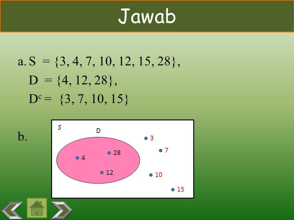 CONTOH Diberikan himpunan semesta S dan himpunan D sebagai berikut: S = {3, 4, 7, 10, 12, 15, 28} D = {x l x habis dibagi 4, x  S} a.Tulis semua angg