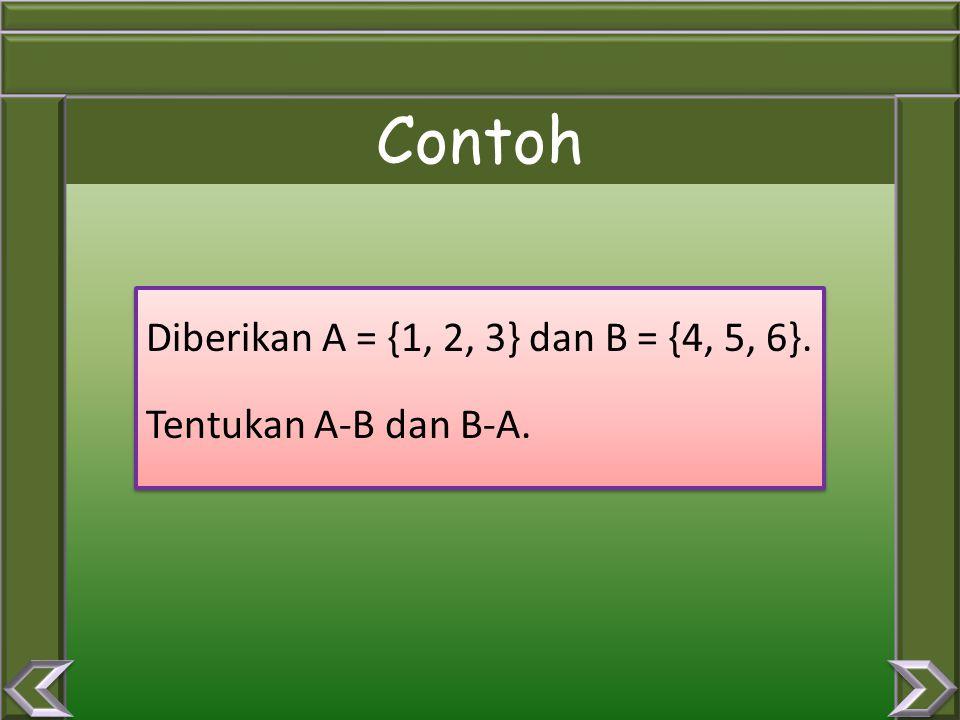SELISIH DUA HIMPUNAN Himpunan yang ada di A tetapi tidak ada di B atau himpunan yang ada di B, tetapi tidak ada di A. Notasi : A – B atau B - A Diagra