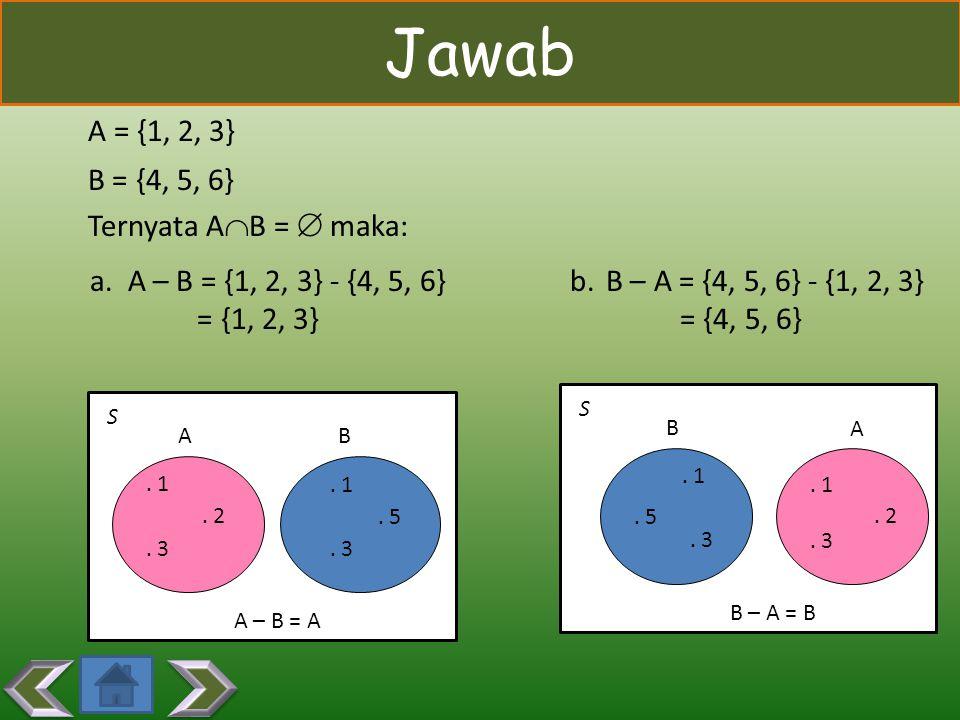 Contoh Diberikan A = {1, 2, 3} dan B = {4, 5, 6}. Tentukan A-B dan B-A. Diberikan A = {1, 2, 3} dan B = {4, 5, 6}. Tentukan A-B dan B-A.