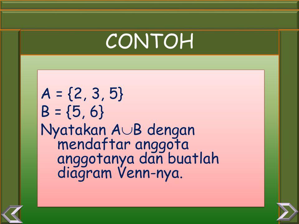 CONTOH A = {2, 3, 5} B = {5, 6} Nyatakan A  B dengan mendaftar anggota anggotanya dan buatlah diagram Venn-nya.