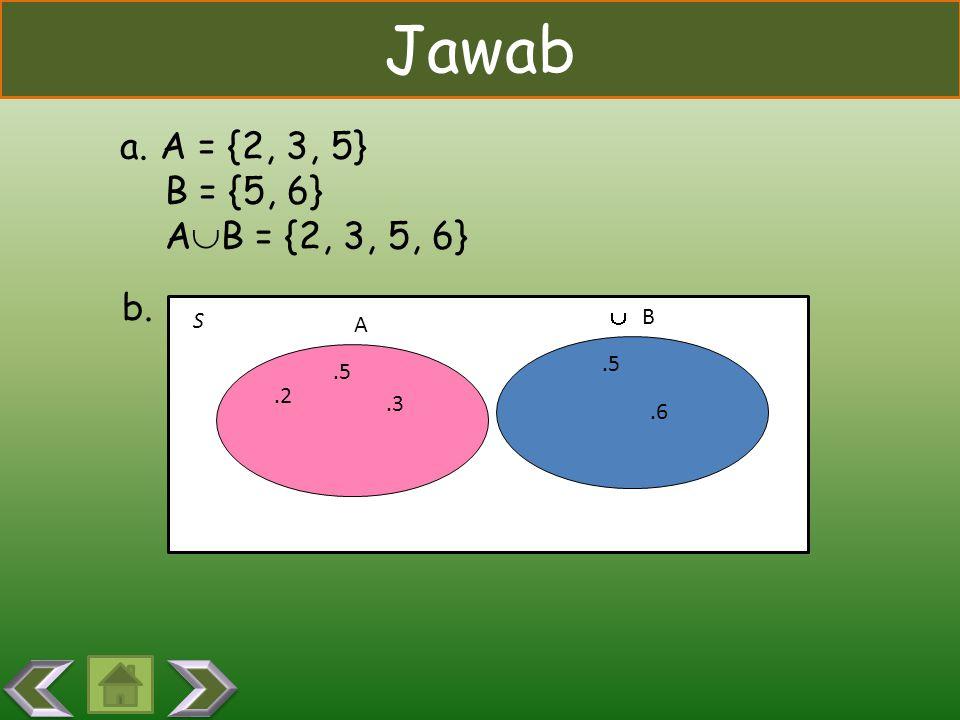 CONTOH A = {2, 3, 5} B = {5, 6} Nyatakan A  B dengan mendaftar anggota anggotanya dan buatlah diagram Venn-nya. A = {2, 3, 5} B = {5, 6} Nyatakan A 