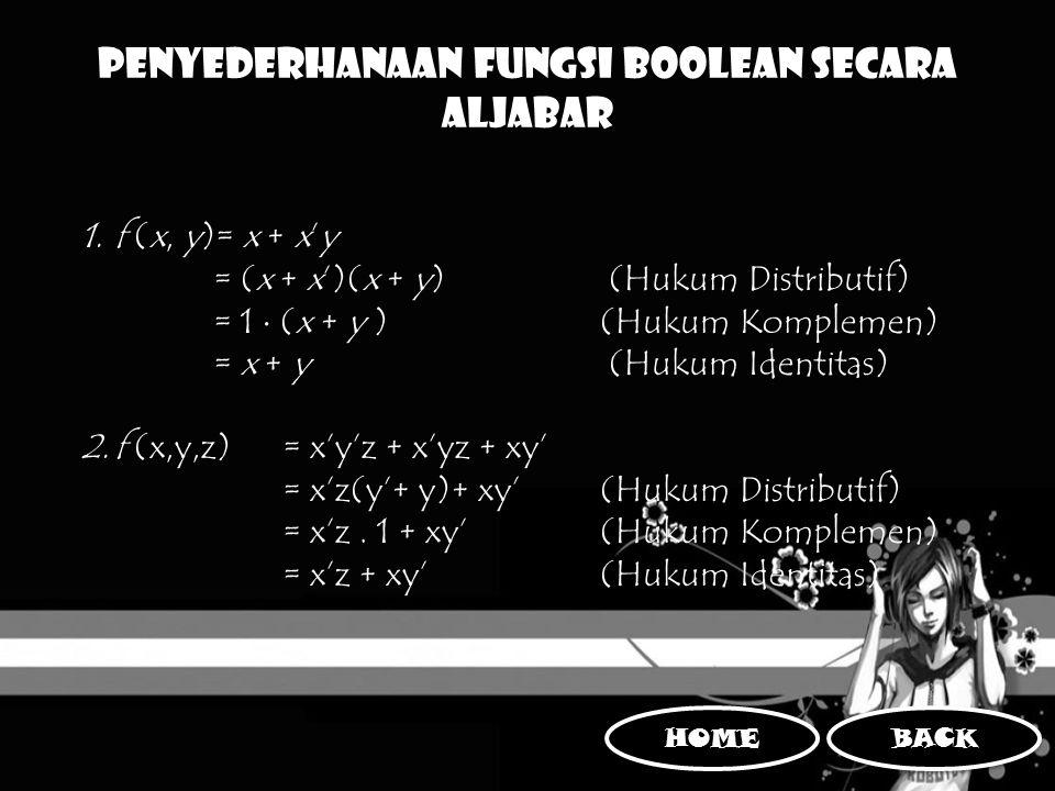 Penyederhanaan Fungsi Boolean Secara Aljabar 1.f (x, y)= x + x'y = (x + x')(x + y) (Hukum Distributif) = 1  (x + y ) (Hukum Komplemen) = x + y (Hukum