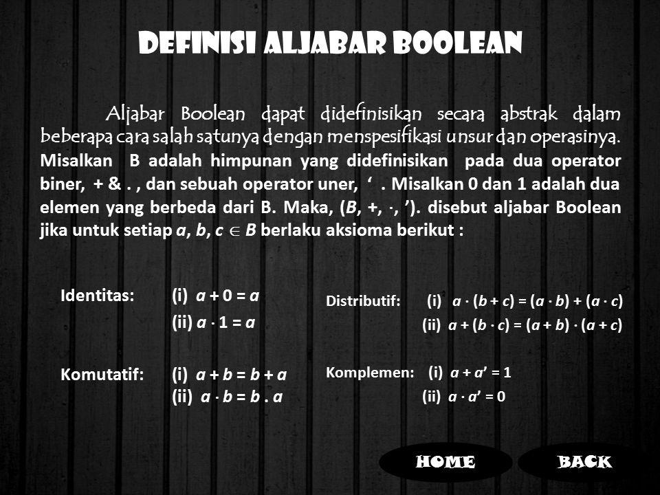 DEFINISI ALJABAR BOOLEAN Identitas:(i) a + 0 = a (ii) a  1 = a Komutatif:(i) a + b = b + a (ii) a  b = b. a Distributif: (i) a  (b + c) = (a  b) +