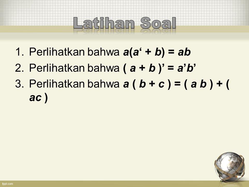 4.Misalkan h(x, y, z) = y'+(xz'+ (x+y)), tentukan h' dengan: a. Hukum D'Morganb. Prinsip Dualitas