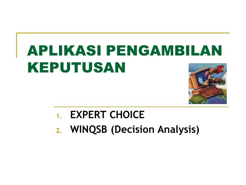 APLIKASI PENGAMBILAN KEPUTUSAN 1. EXPERT CHOICE 2. WINQSB (Decision Analysis)