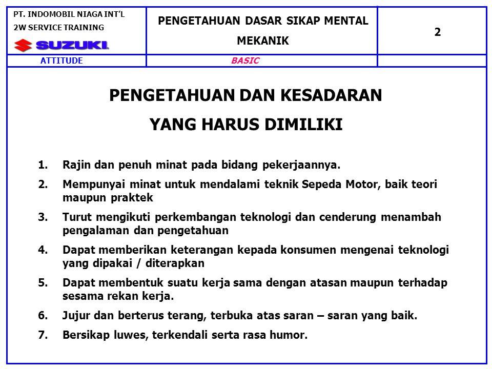 SIKAP MEKANIK DALAM MELAKSANAKAN TUGAS PENGETAHUAN DASAR SIKAP MENTAL MEKANIK 3 ATTITUDE PT.