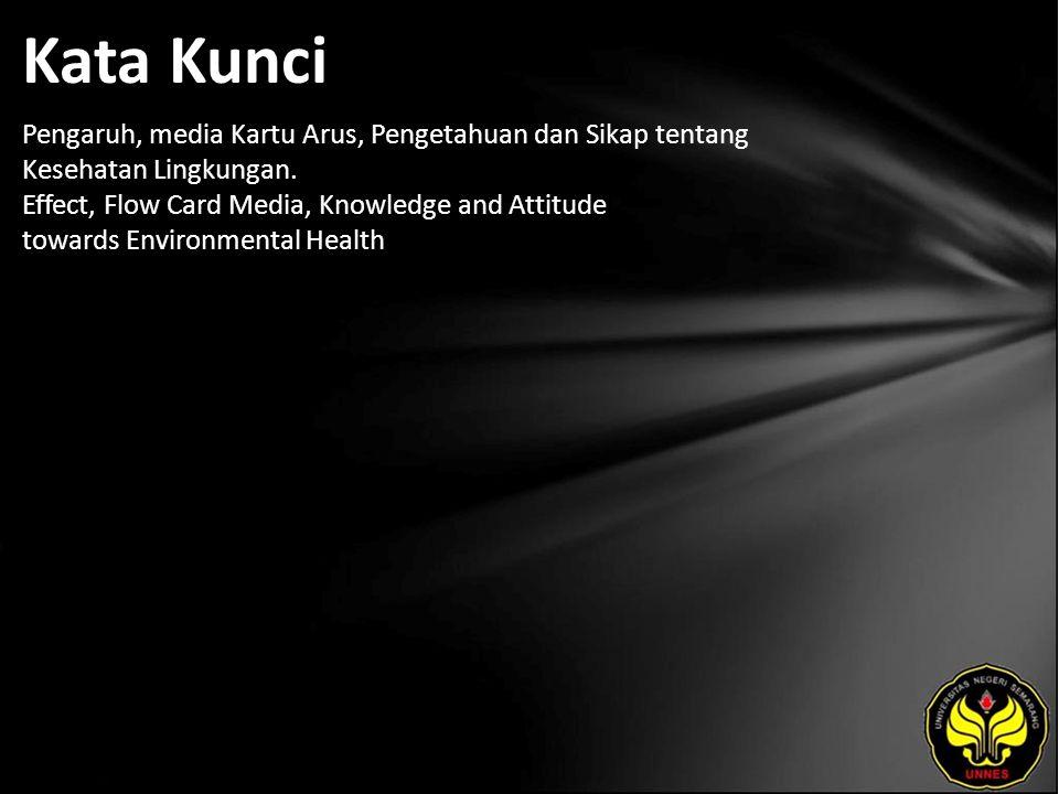 Kata Kunci Pengaruh, media Kartu Arus, Pengetahuan dan Sikap tentang Kesehatan Lingkungan.