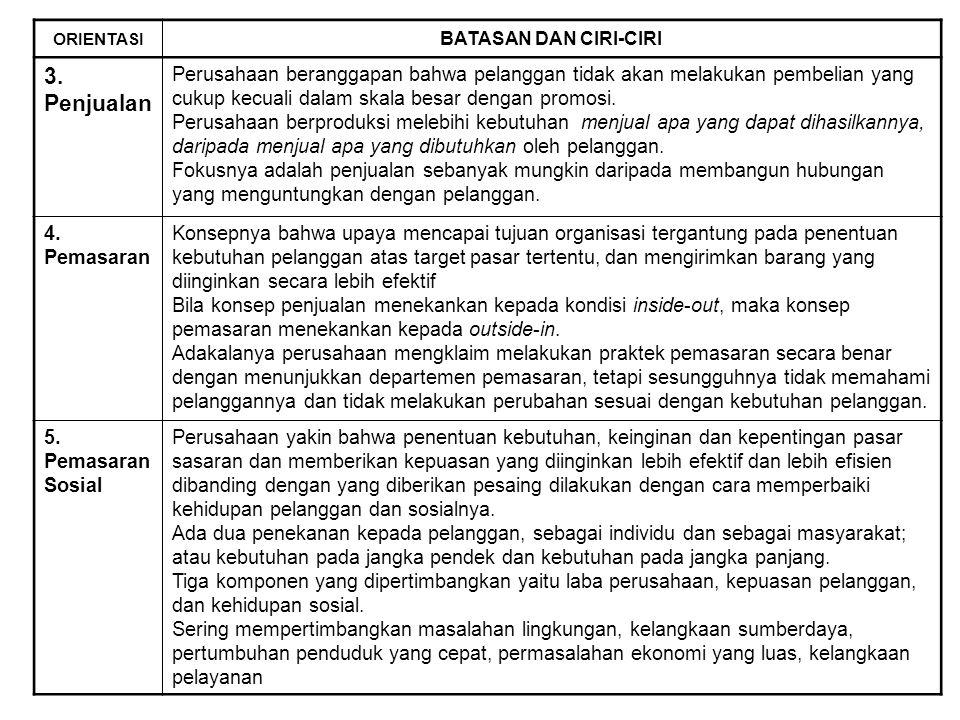 ORIENTASI BATASAN DAN CIRI-CIRI 1. ProduksiKonsep produksi beranggapan bahwa pelanggan akan menyukai barang yang tersedia banyak (massa) dengan harga