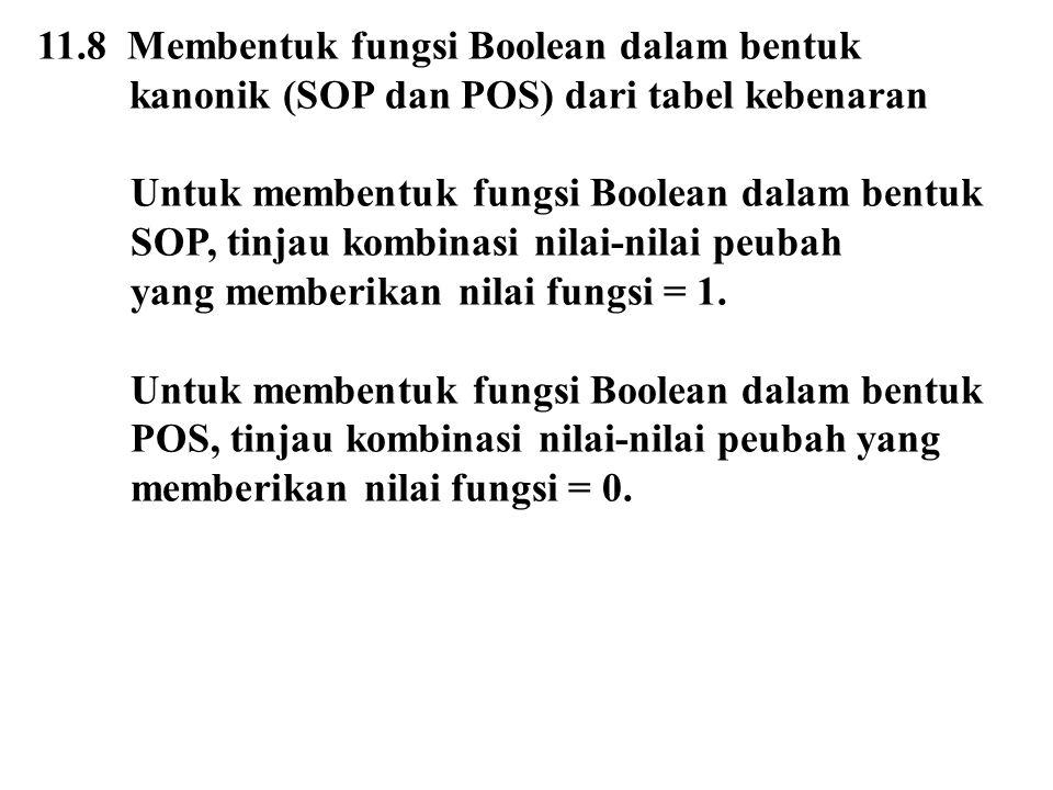 11.8 Membentuk fungsi Boolean dalam bentuk kanonik (SOP dan POS) dari tabel kebenaran Untuk membentuk fungsi Boolean dalam bentuk SOP, tinjau kombinas