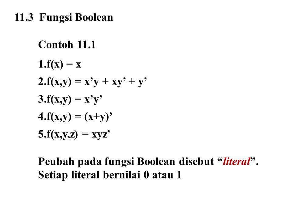11.3 Fungsi Boolean Contoh 11.1 1.f(x) = x 2.f(x,y) = x'y + xy' + y' 3.f(x,y) = x'y' 4.f(x,y) = (x+y)' 5.f(x,y,z) = xyz' Peubah pada fungsi Boolean di